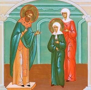 Сретение св. блж. Матроны со св. прав. Иоанном Кронштадтским. Икона.
